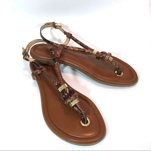 Michael Kors Holly Sandals Brown Snake Print 7.5